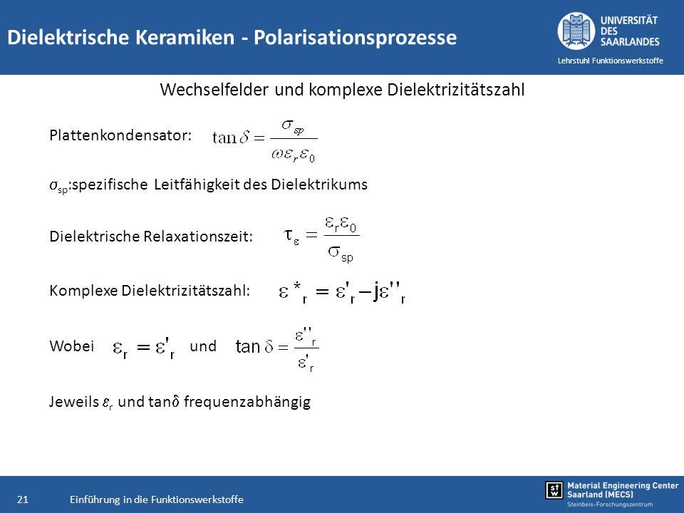 Einführung in die Funktionswerkstoffe21 Lehrstuhl Funktionswerkstoffe Dielektrische Keramiken - Polarisationsprozesse Wechselfelder und komplexe Diele