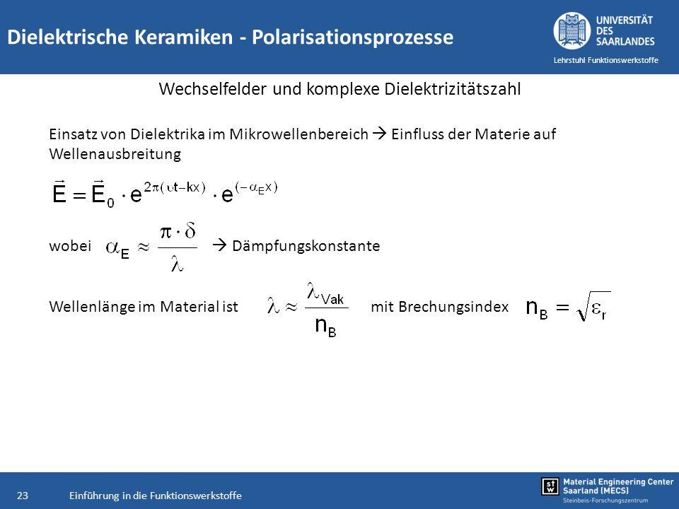 Einführung in die Funktionswerkstoffe23 Lehrstuhl Funktionswerkstoffe Dielektrische Keramiken - Polarisationsprozesse Wechselfelder und komplexe Diele