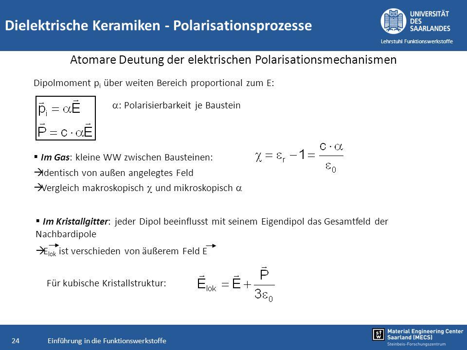 Einführung in die Funktionswerkstoffe24 Lehrstuhl Funktionswerkstoffe Dielektrische Keramiken - Polarisationsprozesse Atomare Deutung der elektrischen