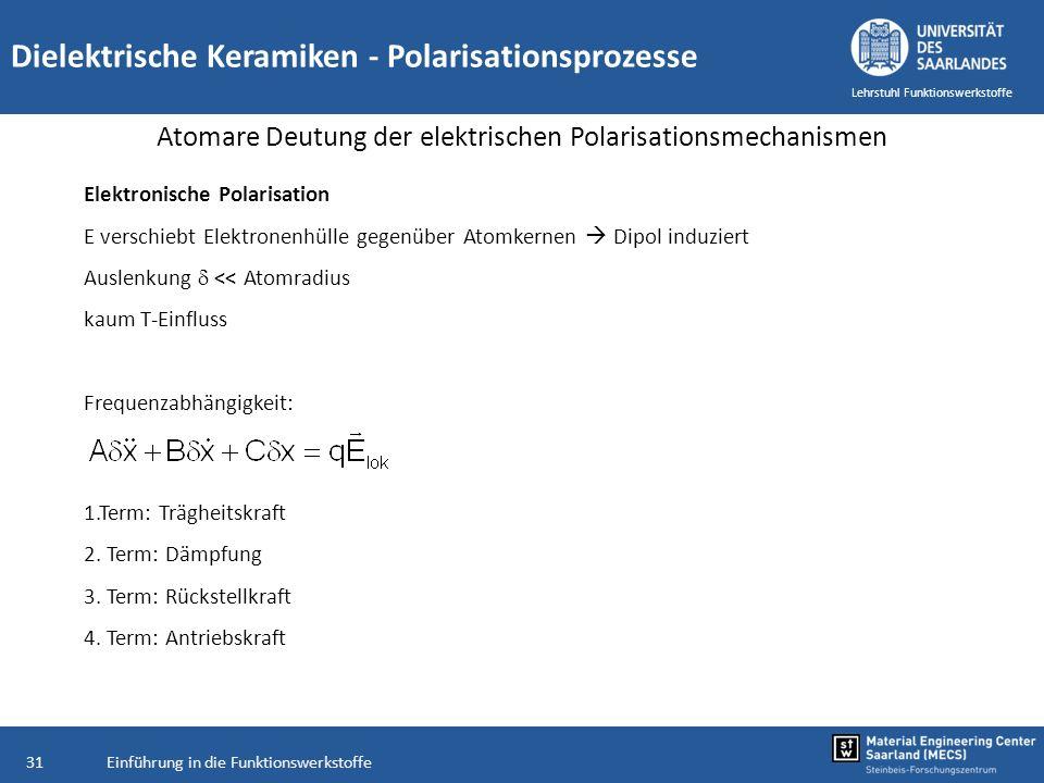 Einführung in die Funktionswerkstoffe31 Lehrstuhl Funktionswerkstoffe Dielektrische Keramiken - Polarisationsprozesse Atomare Deutung der elektrischen