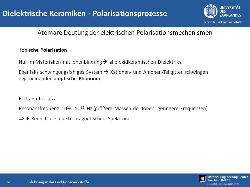 Einführung in die Funktionswerkstoffe34 Lehrstuhl Funktionswerkstoffe Dielektrische Keramiken - Polarisationsprozesse Atomare Deutung der elektrischen