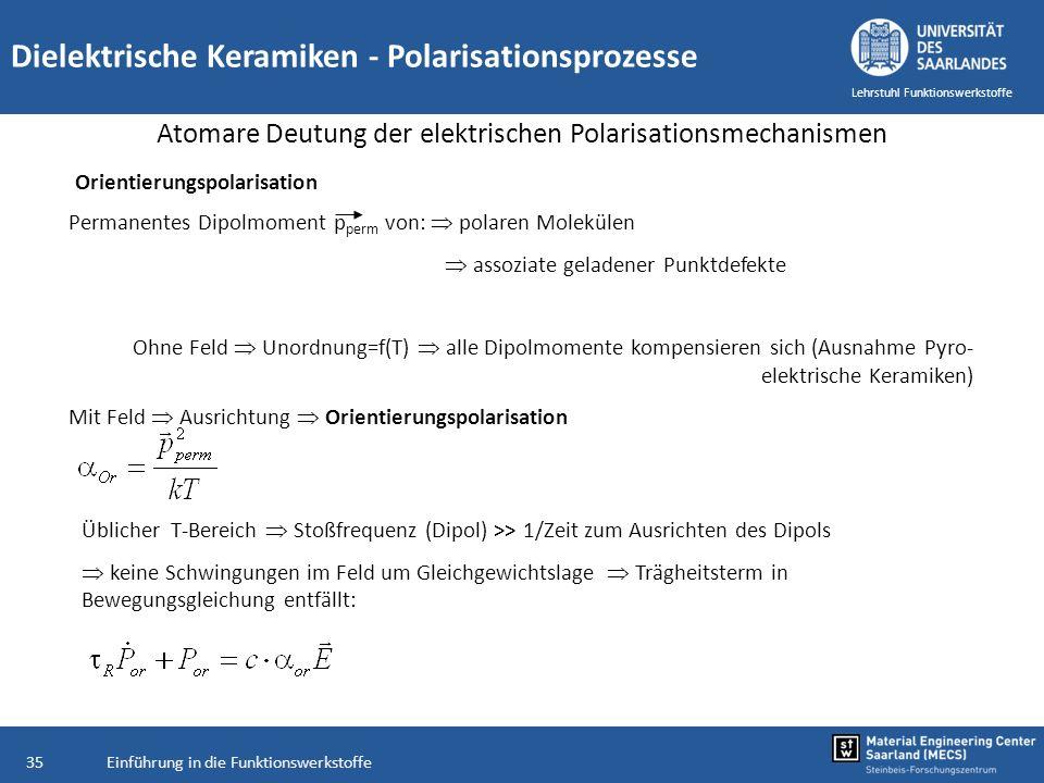 Einführung in die Funktionswerkstoffe35 Lehrstuhl Funktionswerkstoffe Dielektrische Keramiken - Polarisationsprozesse Atomare Deutung der elektrischen