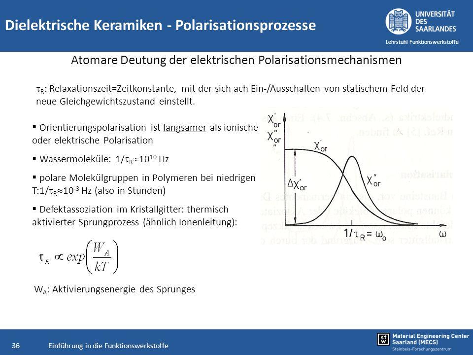 Einführung in die Funktionswerkstoffe36 Lehrstuhl Funktionswerkstoffe Dielektrische Keramiken - Polarisationsprozesse Atomare Deutung der elektrischen