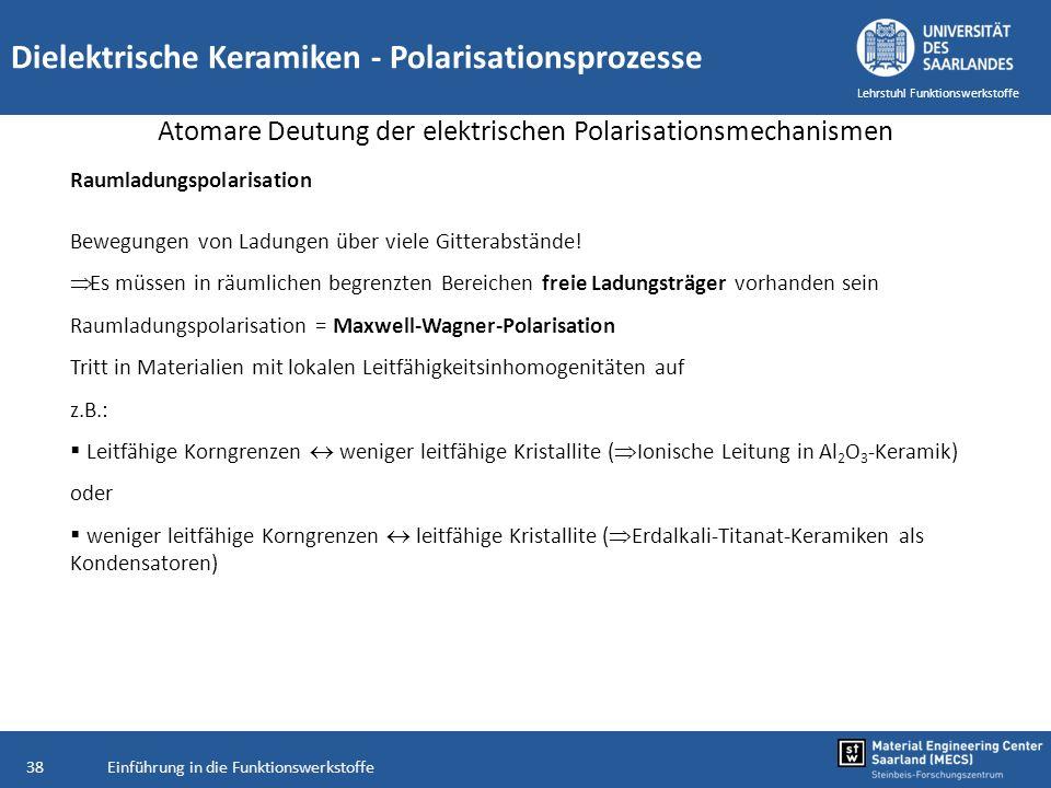 Einführung in die Funktionswerkstoffe38 Lehrstuhl Funktionswerkstoffe Dielektrische Keramiken - Polarisationsprozesse Atomare Deutung der elektrischen