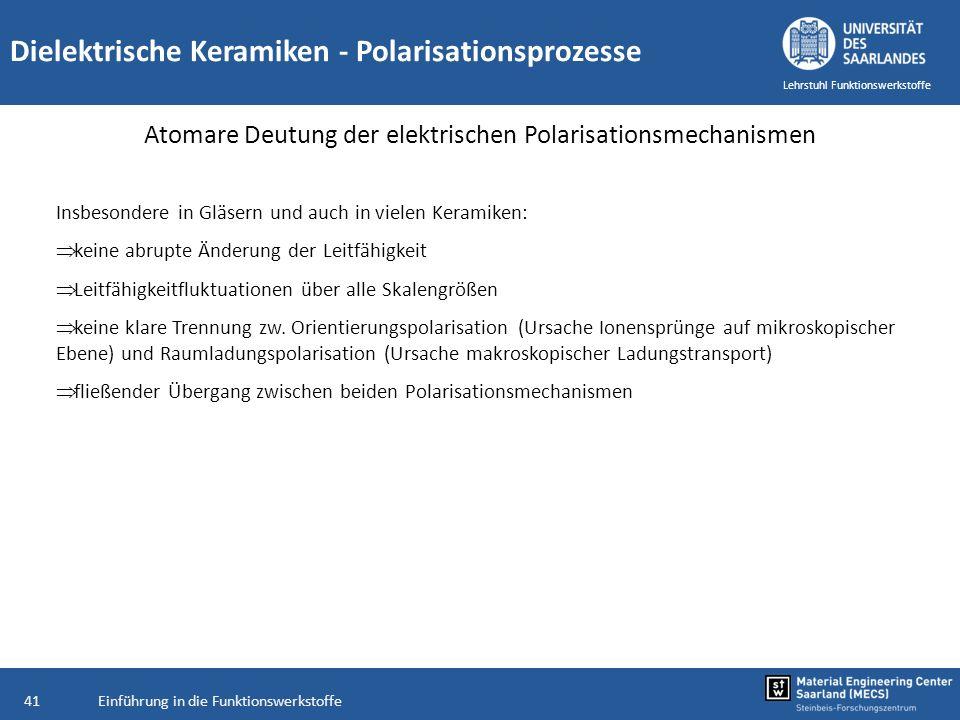 Einführung in die Funktionswerkstoffe41 Lehrstuhl Funktionswerkstoffe Dielektrische Keramiken - Polarisationsprozesse Atomare Deutung der elektrischen