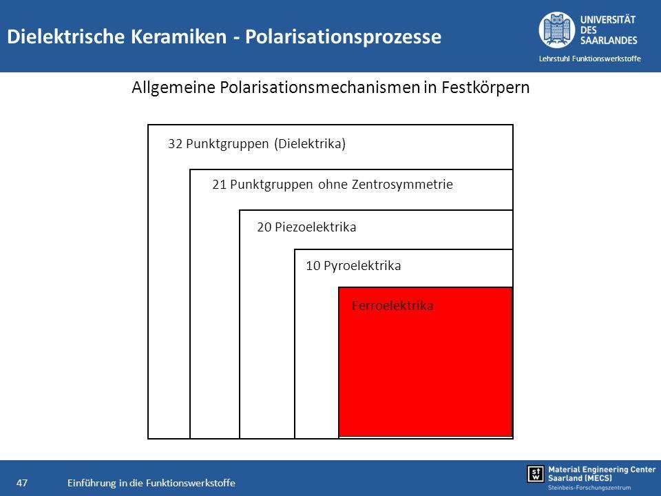 Einführung in die Funktionswerkstoffe47 Lehrstuhl Funktionswerkstoffe Dielektrische Keramiken - Polarisationsprozesse Allgemeine Polarisationsmechanis