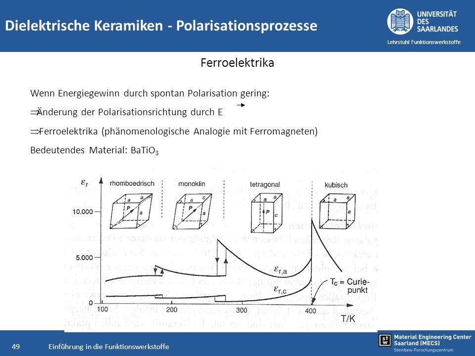 Einführung in die Funktionswerkstoffe49 Lehrstuhl Funktionswerkstoffe Wenn Energiegewinn durch spontan Polarisation gering: Änderung der Polarisations