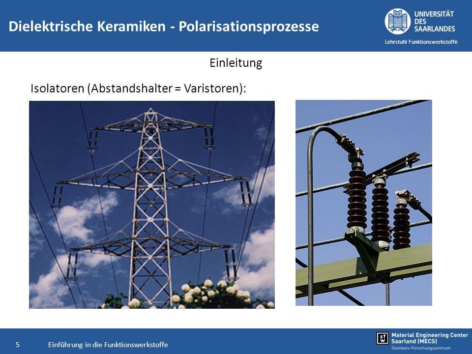 Einführung in die Funktionswerkstoffe6 Lehrstuhl Funktionswerkstoffe Einleitung Isolator bei Zündkerzen: Mittelelektrode und Gehäuse isolieren Wärmeleitung Al 2 O 3 -Keramik Dielektrische Keramiken - Polarisationsprozesse