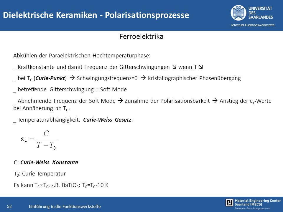 Einführung in die Funktionswerkstoffe52 Lehrstuhl Funktionswerkstoffe Dielektrische Keramiken - Polarisationsprozesse Ferroelektrika Abkühlen der Para