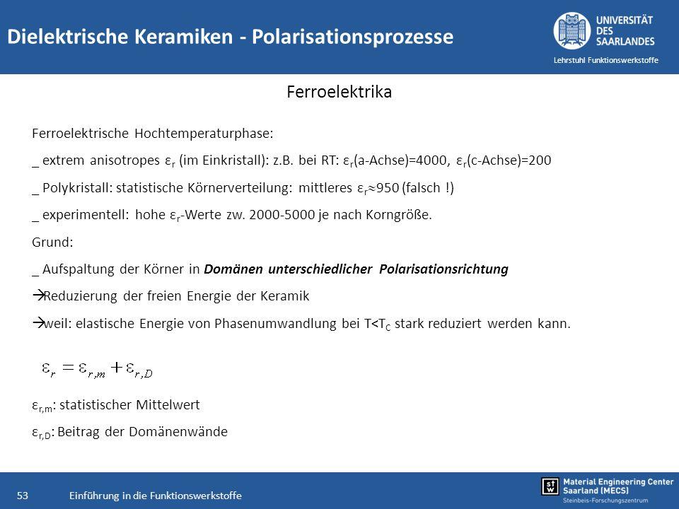 Einführung in die Funktionswerkstoffe53 Lehrstuhl Funktionswerkstoffe Dielektrische Keramiken - Polarisationsprozesse Ferroelektrika Ferroelektrische