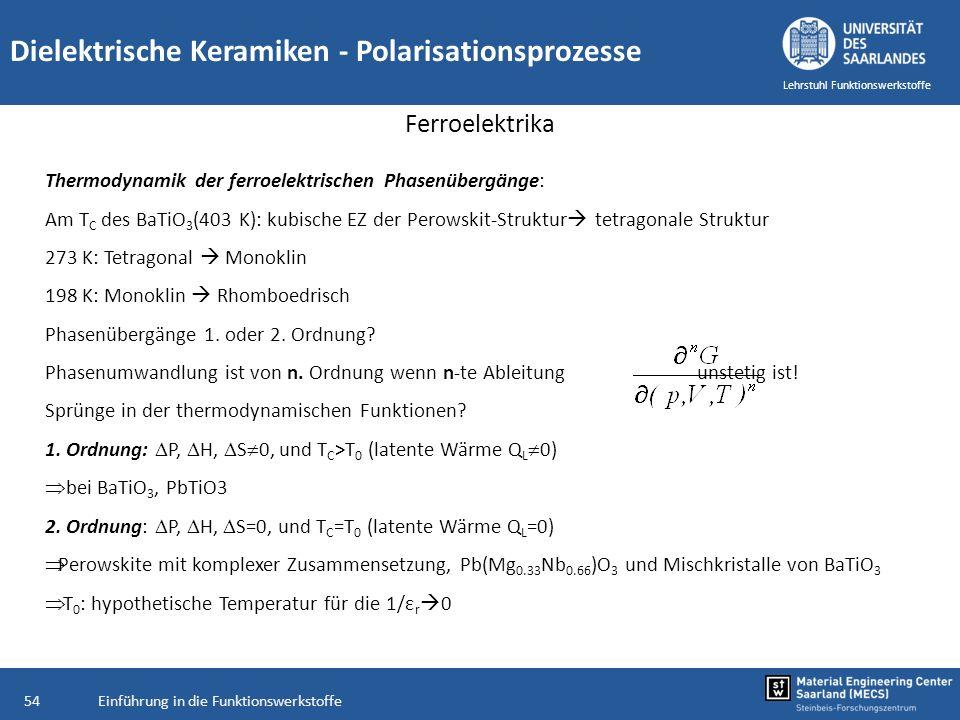 Einführung in die Funktionswerkstoffe54 Lehrstuhl Funktionswerkstoffe Dielektrische Keramiken - Polarisationsprozesse Ferroelektrika Thermodynamik der
