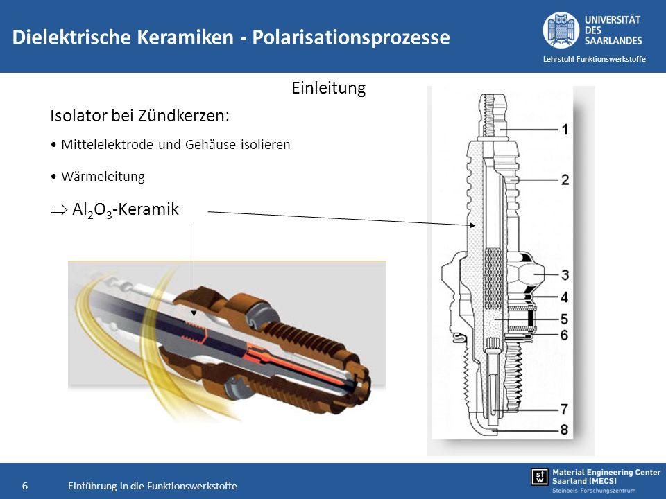 Einführung in die Funktionswerkstoffe6 Lehrstuhl Funktionswerkstoffe Einleitung Isolator bei Zündkerzen: Mittelelektrode und Gehäuse isolieren Wärmele