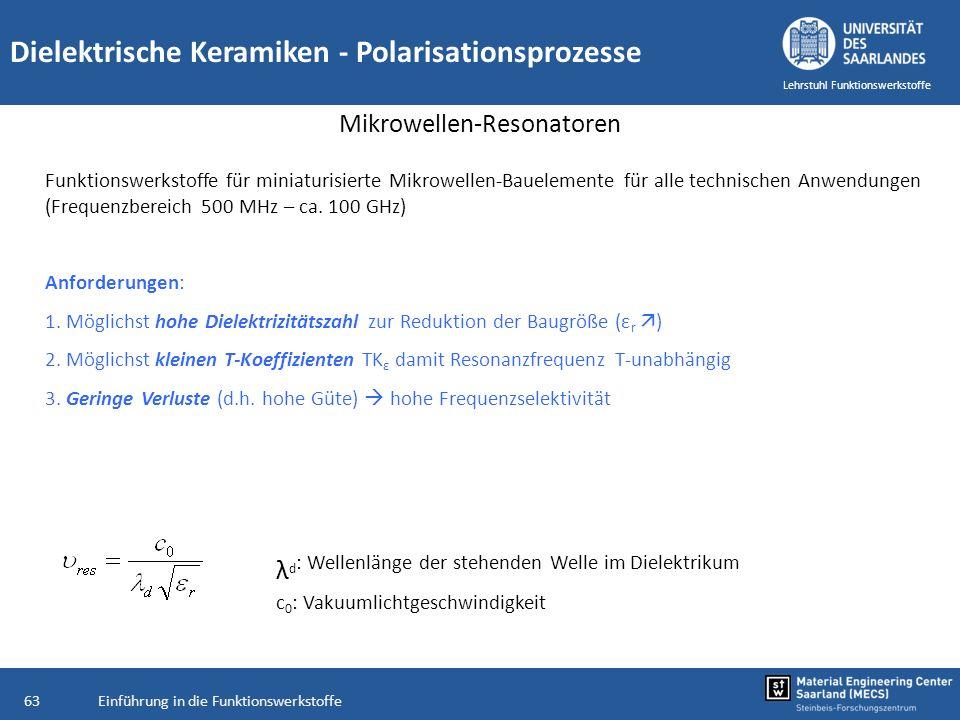 Einführung in die Funktionswerkstoffe63 Lehrstuhl Funktionswerkstoffe Dielektrische Keramiken - Polarisationsprozesse Mikrowellen-Resonatoren Funktion