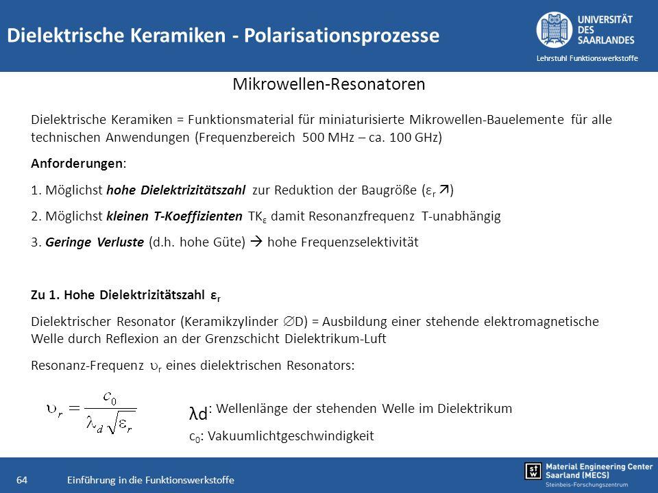 Einführung in die Funktionswerkstoffe64 Lehrstuhl Funktionswerkstoffe Dielektrische Keramiken - Polarisationsprozesse Mikrowellen-Resonatoren Dielektr