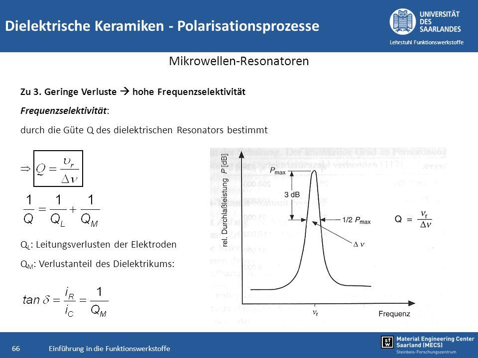 Einführung in die Funktionswerkstoffe66 Lehrstuhl Funktionswerkstoffe Dielektrische Keramiken - Polarisationsprozesse Mikrowellen-Resonatoren Zu 3. Ge