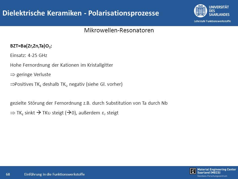 Einführung in die Funktionswerkstoffe68 Lehrstuhl Funktionswerkstoffe Dielektrische Keramiken - Polarisationsprozesse Mikrowellen-Resonatoren BZT=Ba(Z