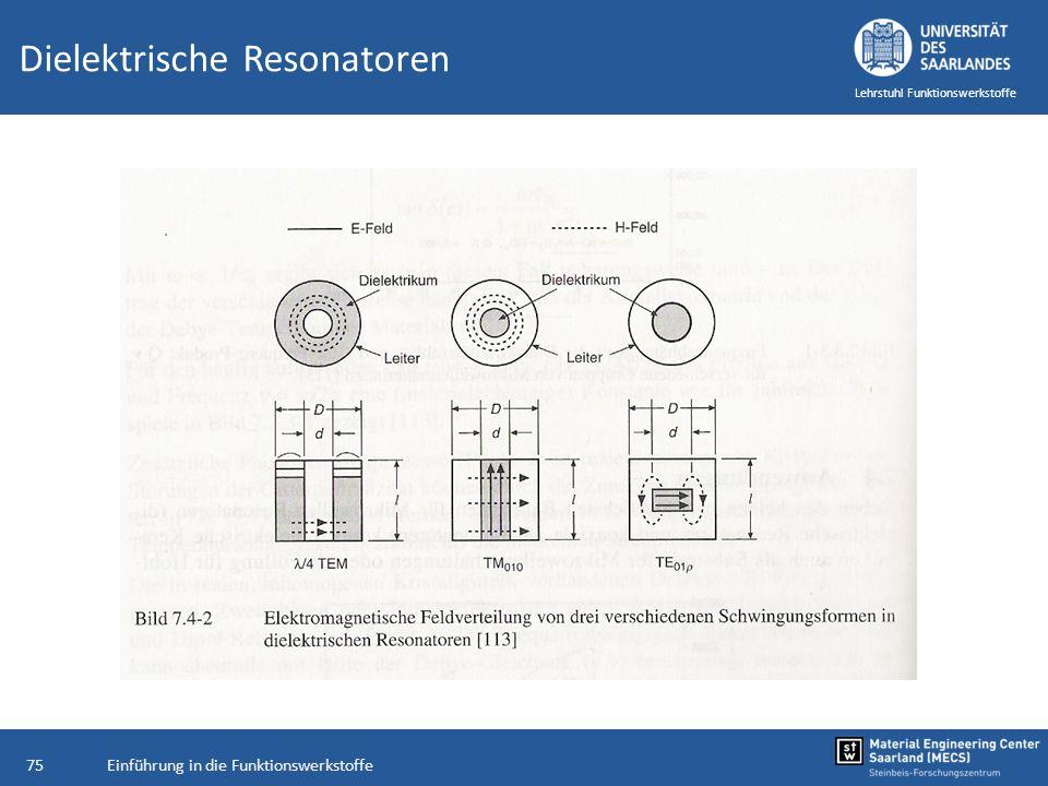 Einführung in die Funktionswerkstoffe75 Lehrstuhl Funktionswerkstoffe Dielektrische Resonatoren