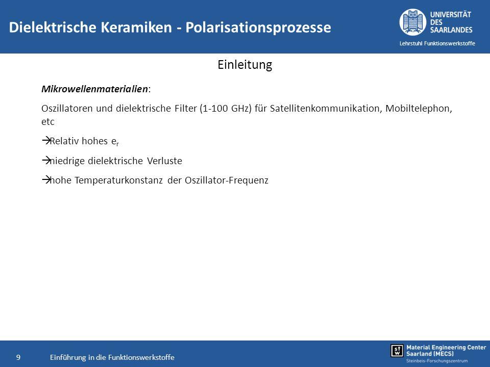 Einführung in die Funktionswerkstoffe60 Lehrstuhl Funktionswerkstoffe Dielektrische Keramiken - Polarisationsprozesse Ferroelektrika Relaxoren: Wenn ausgeprägte Frequenzabhängigkeit von ε r (T) Relaxoren: Pb(Mg 1/3 Nb 2/3 )O3 (PMN) BaTiO 3 : geringe Frequenzabhängigkeit bis in GHz-Bereich