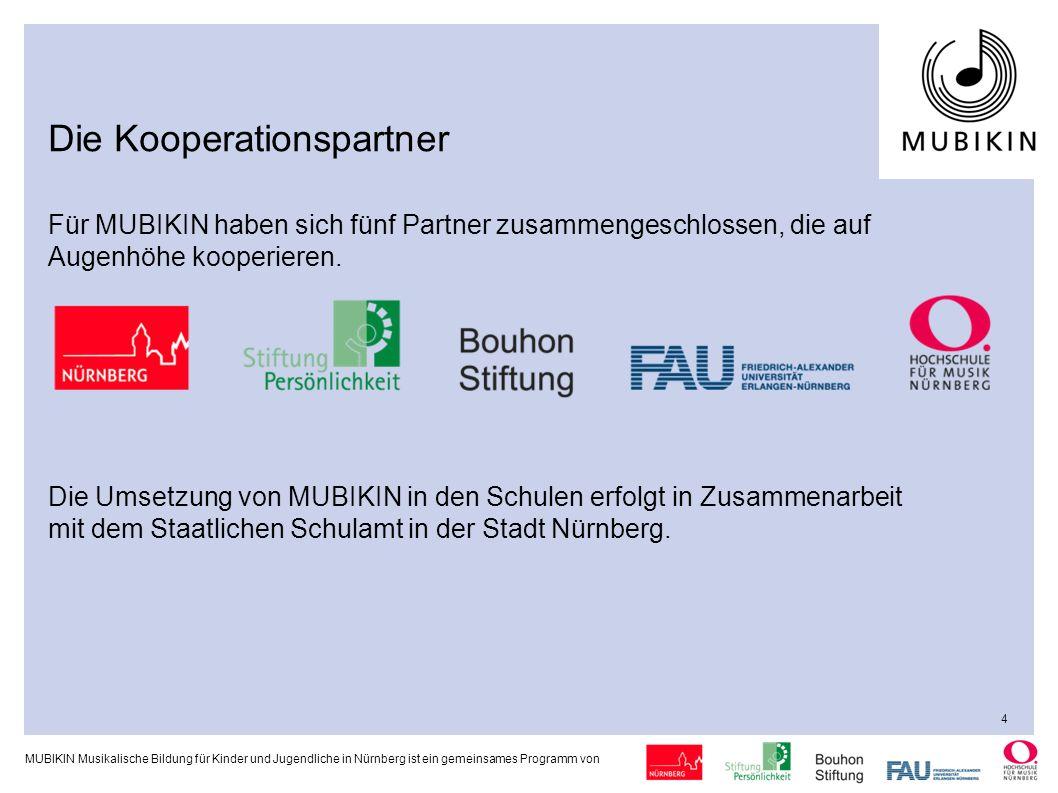 MUBIKIN Musikalische Bildung für Kinder und Jugendliche in Nürnberg ist ein gemeinsames Programm von Strategie / Projektstruktur Die beteiligten Partner kooperieren auf Augenhöhe.