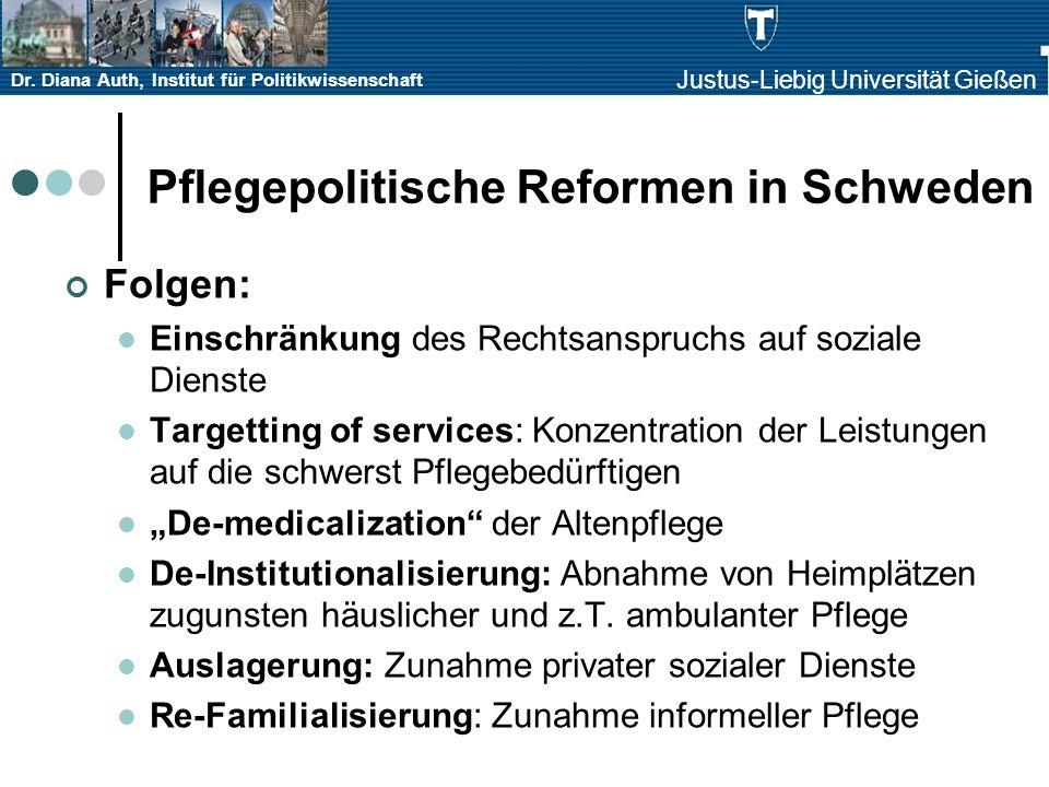 Dr. Diana Auth, Institut für Politikwissenschaft Justus-Liebig Universität Gießen Pflegepolitische Reformen in Schweden Folgen: Einschränkung des Rech