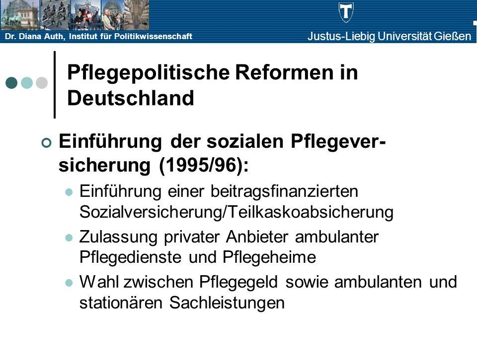 Dr. Diana Auth, Institut für Politikwissenschaft Justus-Liebig Universität Gießen Pflegepolitische Reformen in Deutschland Einführung der sozialen Pfl