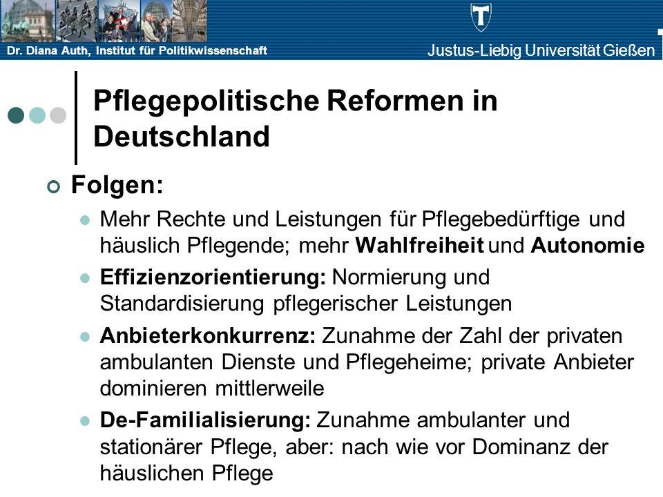 Dr. Diana Auth, Institut für Politikwissenschaft Justus-Liebig Universität Gießen Pflegepolitische Reformen in Deutschland Folgen: Mehr Rechte und Lei