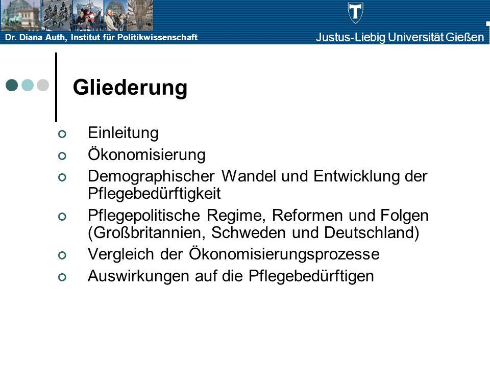 Dr. Diana Auth, Institut für Politikwissenschaft Justus-Liebig Universität Gießen Gliederung Einleitung Ökonomisierung Demographischer Wandel und Entw