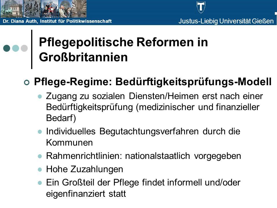 Dr. Diana Auth, Institut für Politikwissenschaft Justus-Liebig Universität Gießen Pflegepolitische Reformen in Großbritannien Pflege-Regime: Bedürftig