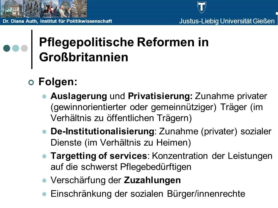 Dr. Diana Auth, Institut für Politikwissenschaft Justus-Liebig Universität Gießen Pflegepolitische Reformen in Großbritannien Folgen: Auslagerung und