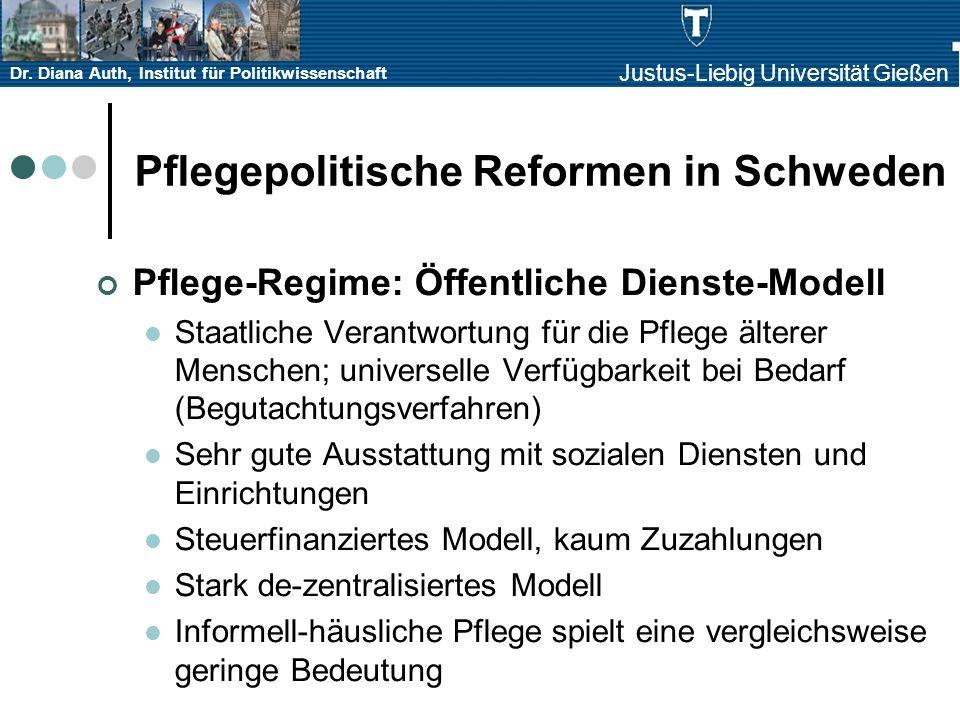Dr. Diana Auth, Institut für Politikwissenschaft Justus-Liebig Universität Gießen Pflegepolitische Reformen in Schweden Pflege-Regime: Öffentliche Die