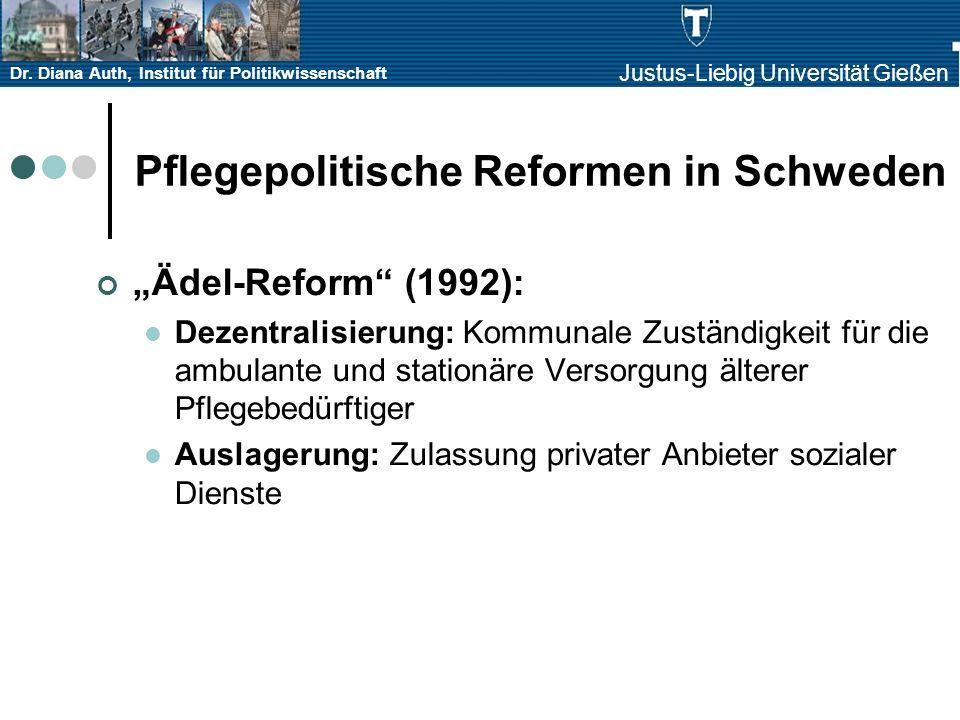Dr. Diana Auth, Institut für Politikwissenschaft Justus-Liebig Universität Gießen Pflegepolitische Reformen in Schweden Ädel-Reform (1992): Dezentrali