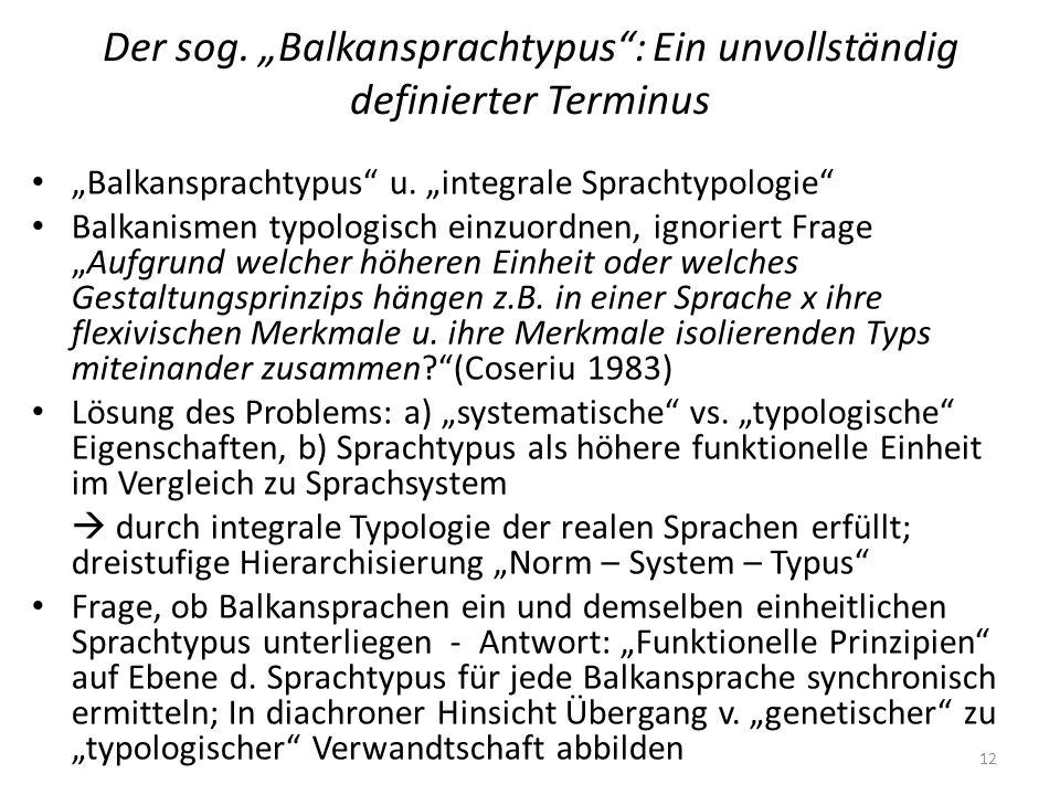 Der sog. Balkansprachtypus: Ein unvollständig definierter Terminus Balkansprachtypus u. integrale Sprachtypologie Balkanismen typologisch einzuordnen,