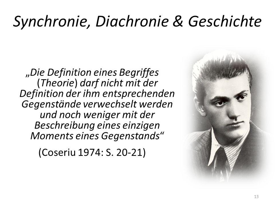 Synchronie, Diachronie & Geschichte Die Definition eines Begriffes (Theorie) darf nicht mit der Definition der ihm entsprechenden Gegenstände verwechs