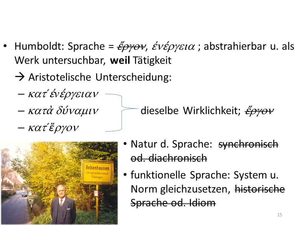 Humboldt: Sprache =, ; abstrahierbar u. als Werk untersuchbar, weil Tätigkeit Aristotelische Unterscheidung: – ´ v – dieselbe Wirklichkeit; – ´ Natur