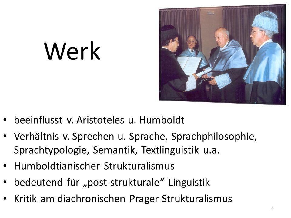 Werk beeinflusst v. Aristoteles u. Humboldt Verhältnis v. Sprechen u. Sprache, Sprachphilosophie, Sprachtypologie, Semantik, Textlinguistik u.a. Humbo