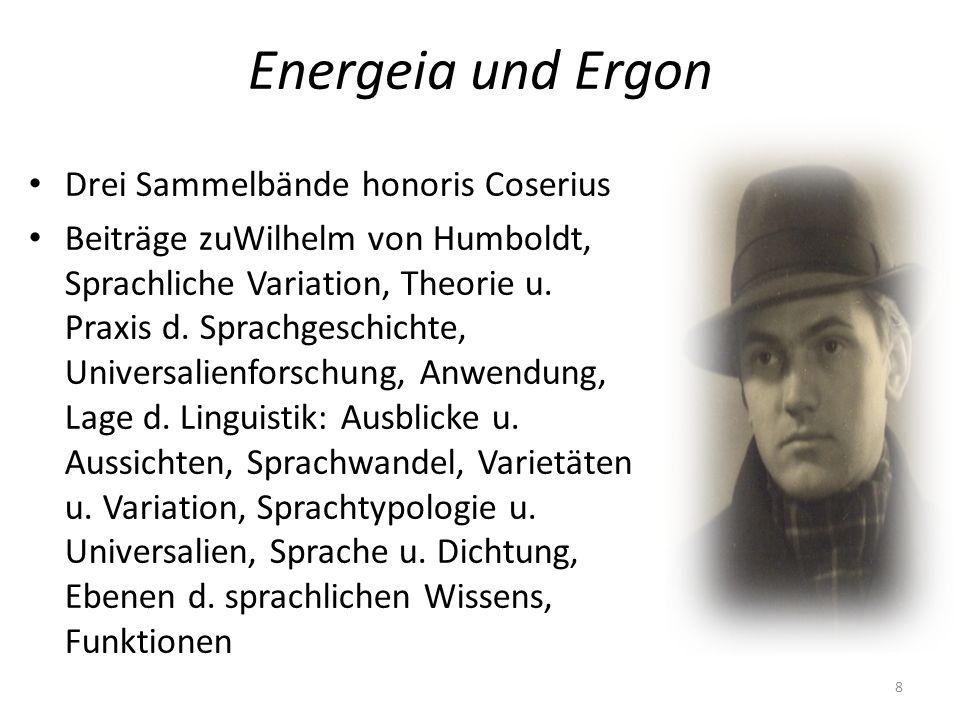 Energeia und Ergon Drei Sammelbände honoris Coserius Beiträge zuWilhelm von Humboldt, Sprachliche Variation, Theorie u. Praxis d. Sprachgeschichte, Un
