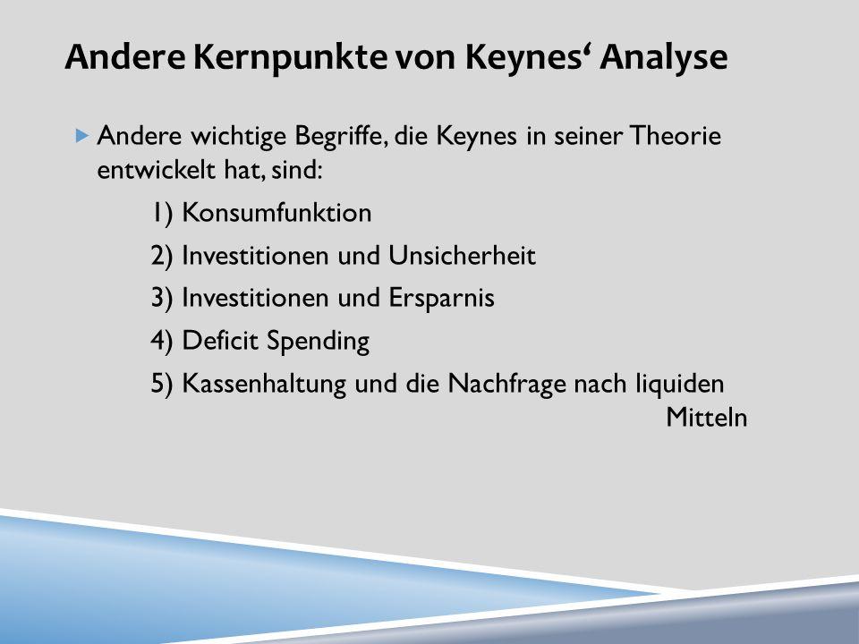 Andere Kernpunkte von Keynes Analyse Andere wichtige Begriffe, die Keynes in seiner Theorie entwickelt hat, sind: 1) Konsumfunktion 2) Investitionen u