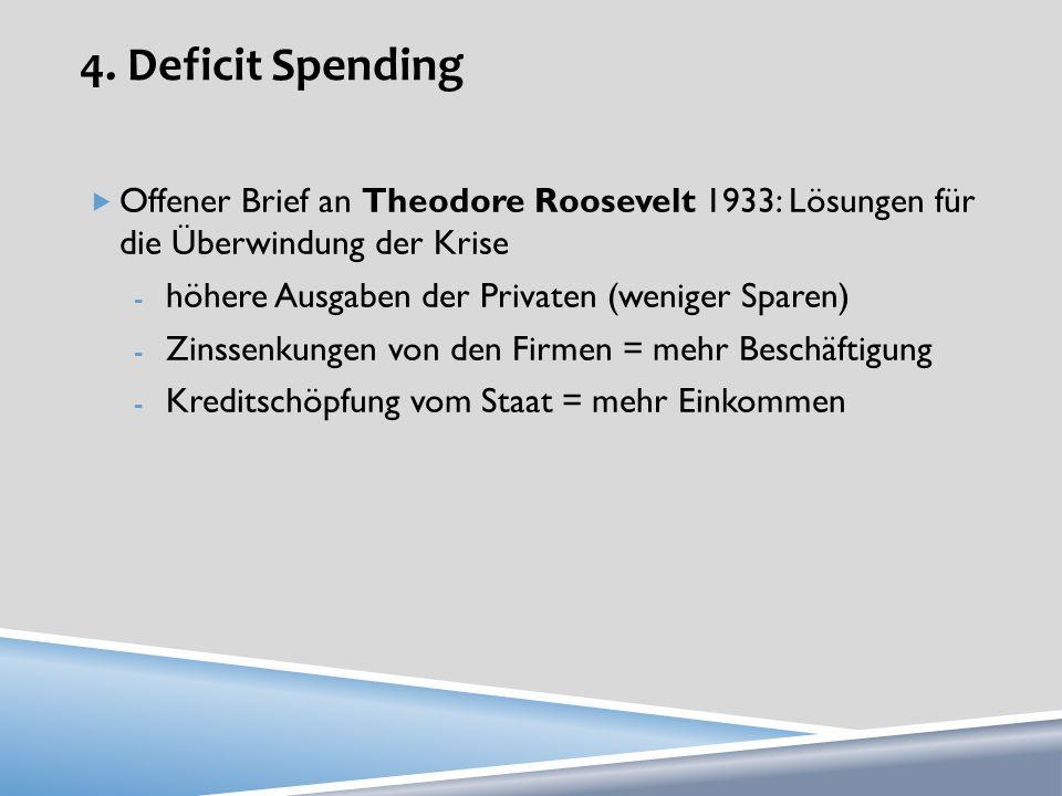 4. Deficit Spending Offener Brief an Theodore Roosevelt 1933: Lösungen für die Überwindung der Krise - höhere Ausgaben der Privaten (weniger Sparen) -