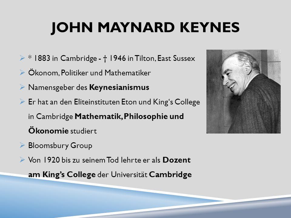 JOHN MAYNARD KEYNES * 1883 in Cambridge - 1946 in Tilton, East Sussex Ökonom, Politiker und Mathematiker Namensgeber des Keynesianismus Er hat an den Eliteinstituten Eton und Kings College in Cambridge Mathematik, Philosophie und Ökonomie studiert Bloomsbury Group Von 1920 bis zu seinem Tod lehrte er als Dozent am Kings College der Universität Cambridge