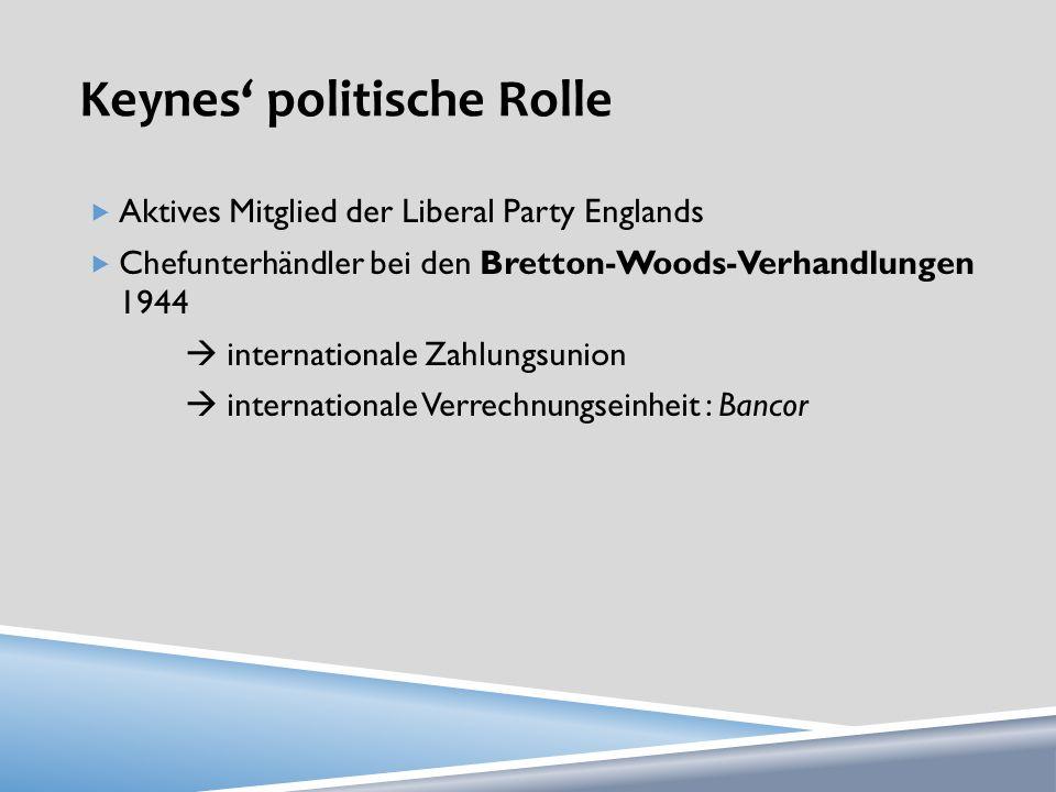 Keynes politische Rolle Aktives Mitglied der Liberal Party Englands Chefunterhändler bei den Bretton-Woods-Verhandlungen 1944 internationale Zahlungsunion internationale Verrechnungseinheit : Bancor