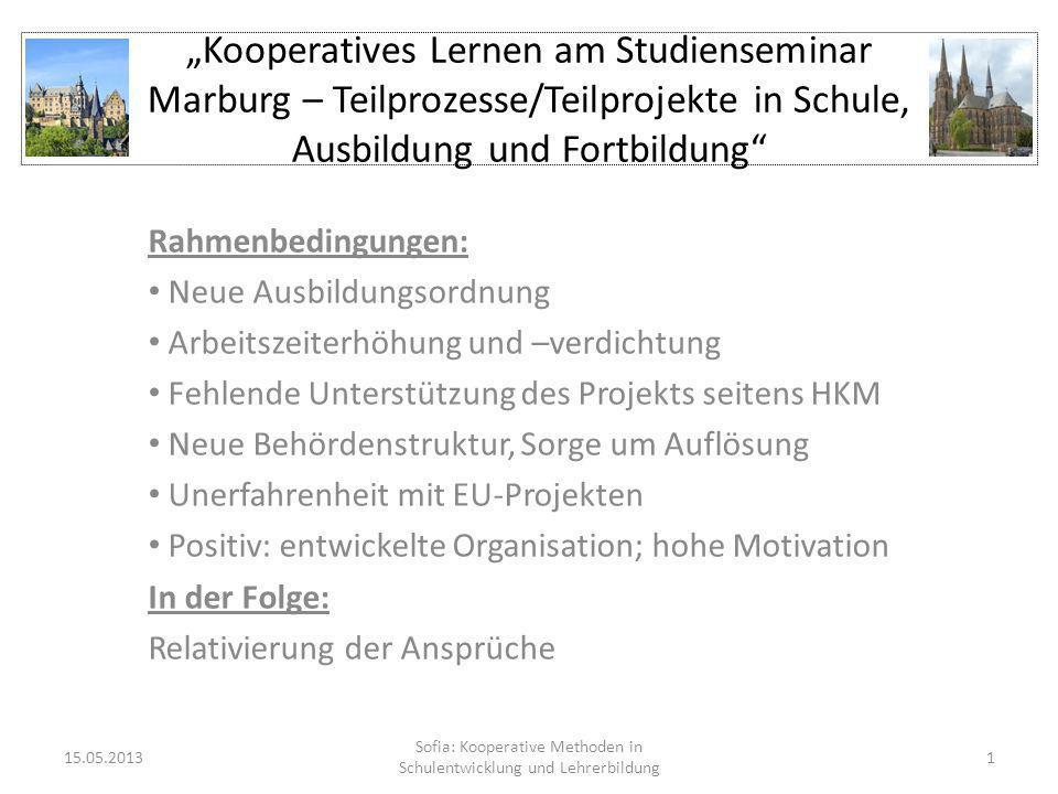 Kooperatives Lernen am Studienseminar Marburg – Teilprozesse/Teilprojekte in Schule, Ausbildung und Fortbildung Rahmenbedingungen: Neue Ausbildungsord