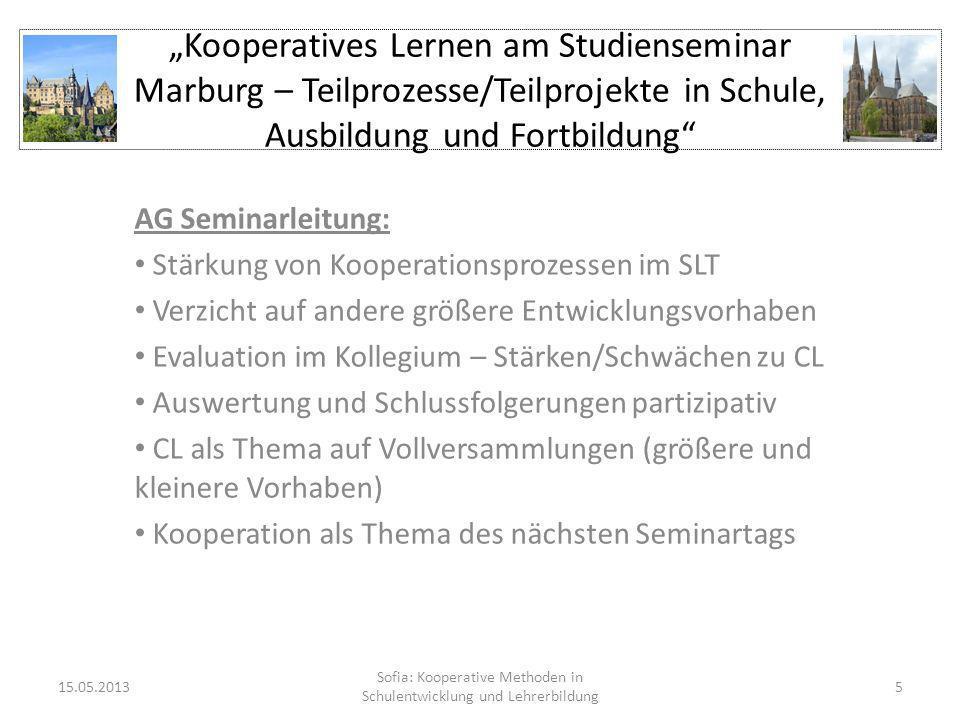Kooperatives Lernen am Studienseminar Marburg – Teilprozesse/Teilprojekte in Schule, Ausbildung und Fortbildung AG Seminarleitung: Stärkung von Kooper