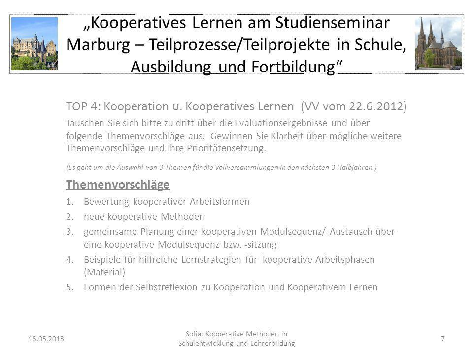 Kooperatives Lernen am Studienseminar Marburg – Teilprozesse/Teilprojekte in Schule, Ausbildung und Fortbildung TOP 4: Kooperation u. Kooperatives Ler