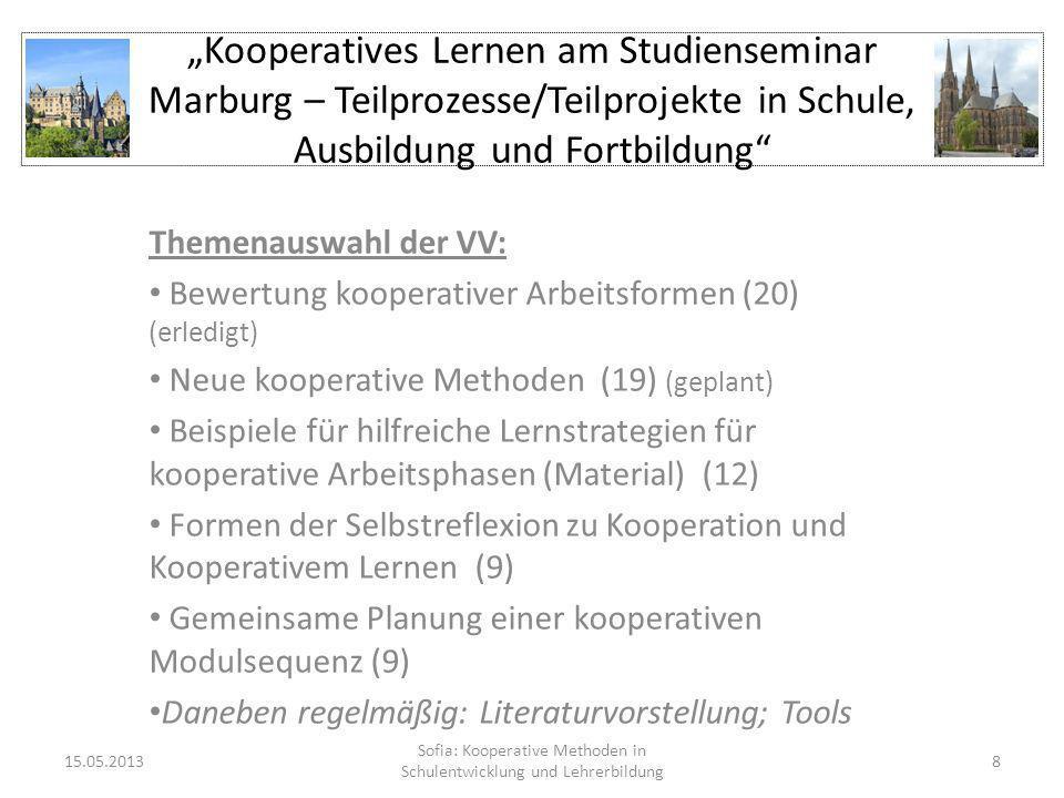 Kooperatives Lernen am Studienseminar Marburg – Teilprozesse/Teilprojekte in Schule, Ausbildung und Fortbildung Themenauswahl der VV: Bewertung kooper