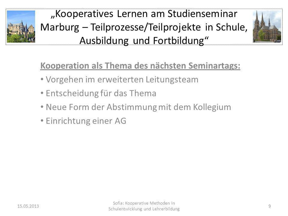 Kooperatives Lernen am Studienseminar Marburg – Teilprozesse/Teilprojekte in Schule, Ausbildung und Fortbildung Kooperation als Thema des nächsten Sem