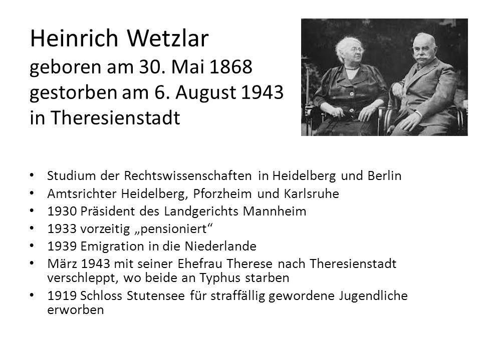 Heinrich Wetzlar geboren am 30. Mai 1868 gestorben am 6. August 1943 in Theresienstadt Studium der Rechtswissenschaften in Heidelberg und Berlin Amtsr