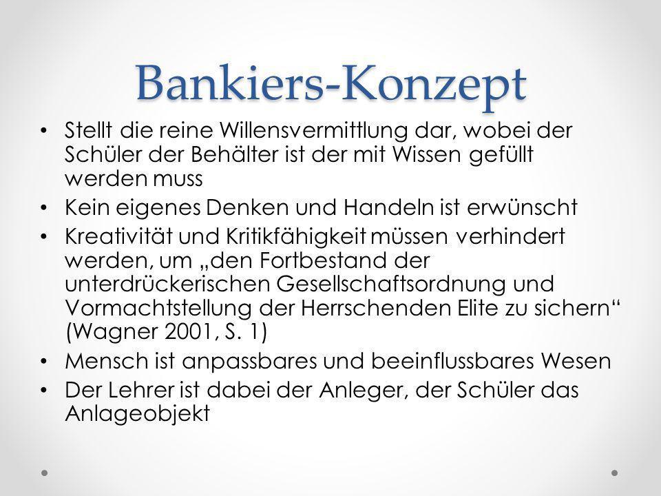 Bankiers-Konzept Stellt die reine Willensvermittlung dar, wobei der Schüler der Behälter ist der mit Wissen gefüllt werden muss Kein eigenes Denken un
