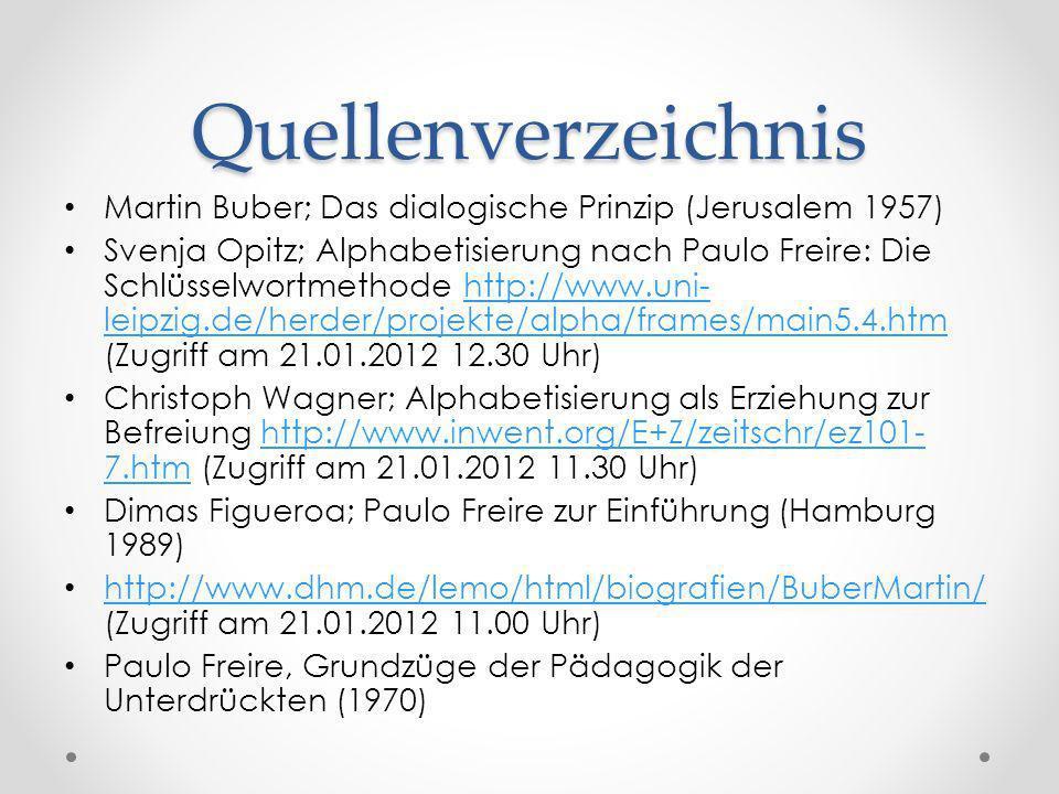 Quellenverzeichnis Martin Buber; Das dialogische Prinzip (Jerusalem 1957) Svenja Opitz; Alphabetisierung nach Paulo Freire: Die Schlüsselwortmethode h