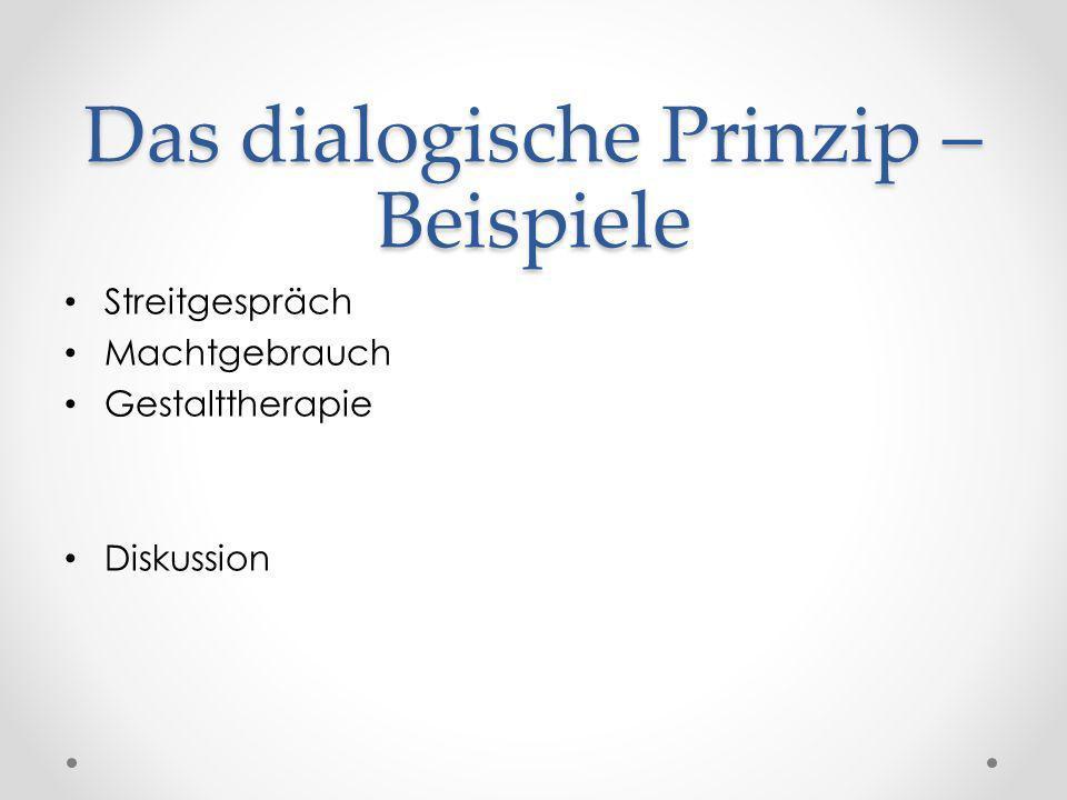 Das dialogische Prinzip – Beispiele Streitgespräch Machtgebrauch Gestalttherapie Diskussion