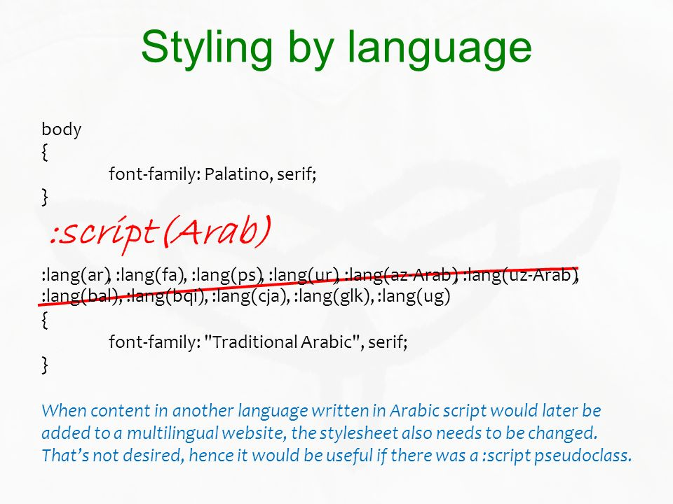 :lang(bal), :lang(bqi), :lang(cja), :lang(glk), :lang(ug) Styling by language body { font-family: Palatino, serif; } { font-family: